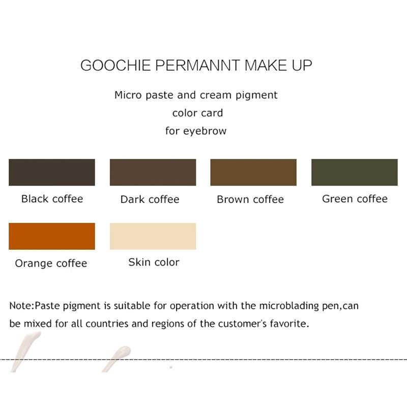 1 בקבוק GOOCHIE Microblading טהור תחליב פיגמנט איפור קבוע גבות פיגמנט 6 צבע קעקוע דיו לקעקוע מכונת דיו