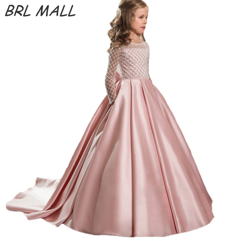 2019 Pink   Flower     Girl     Dresses   Beaded Long Sleeves   Girls   Pageant   Dress   Kids Ball Gown vestido longo First Communion   Dresses