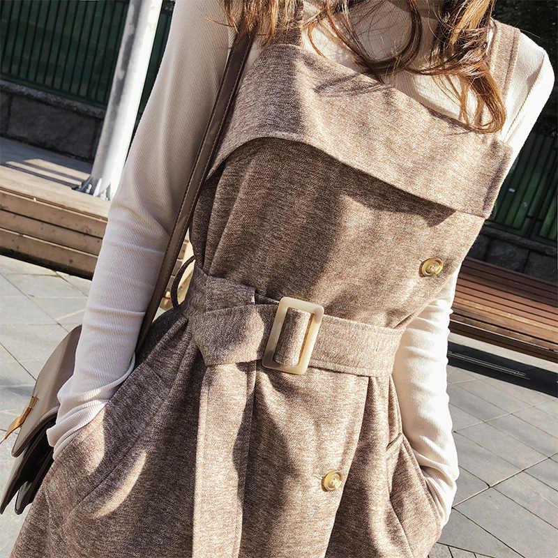Mishow Осенне - зимнее платье майка приталенное с поясом и карманами Повседневный стиль новая коллекция 2019 Материал полиэстер