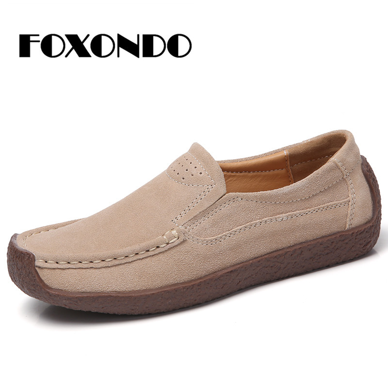 FOXONDO 2019 Autumn women flats   leather     suede   slip on loafers shoes ladies ballet flats shoes female boat oxford shoes SZ526