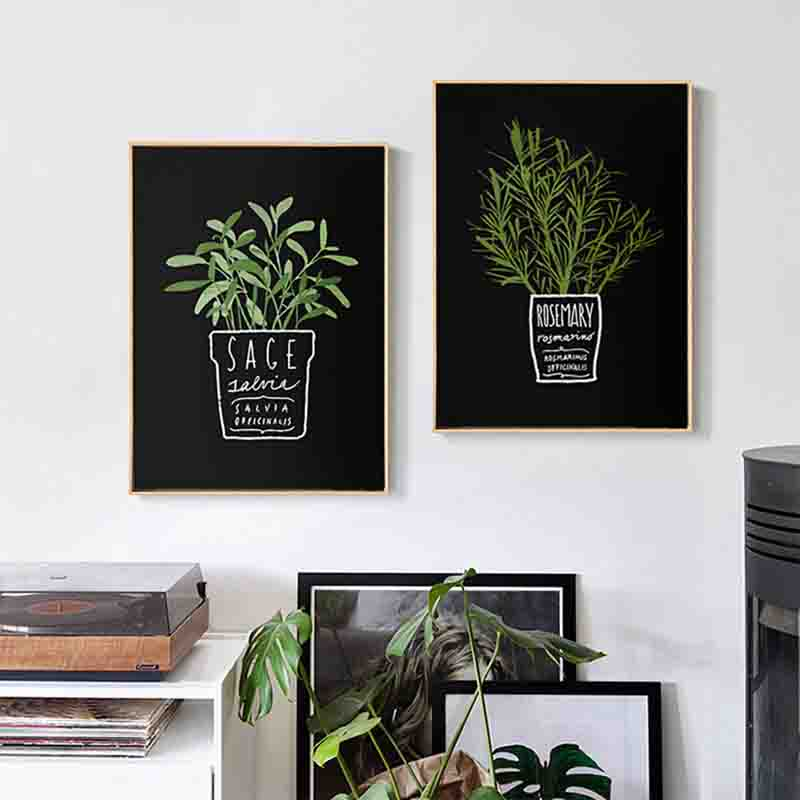 Canvas Pictures Decor Kitchen Office Wall Potted Plant And Letters A4 Painting Art Printed Nordic Style Fashion Posters