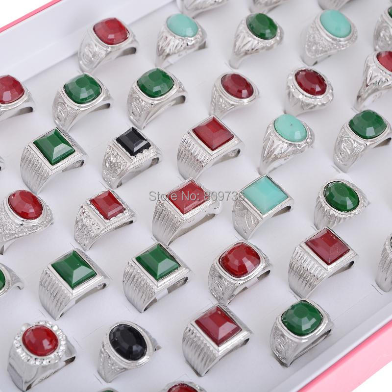 5pcs Vintage Crystal Silver Plated Women Stone Rings Geometric shape Men Charm Jewerly Mix Colors Wholesale Cheap Free