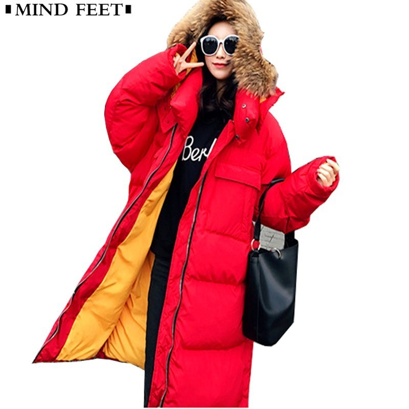 MIND FEET Women   Down   Jackets Female Fur Collar Lengthen Fund   Down     Coats   Loose Thickening Warm Fashion Overcoat Long   Down   Jackets