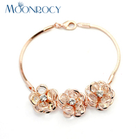 MOONROCY Miễn Phí Vận Chuyển Thời Trang Cubic Zirconia Pha Lê Bracelet Rose Màu Vàng trang sức Bán Buôn hoa của phụ nữ Bangle Gift