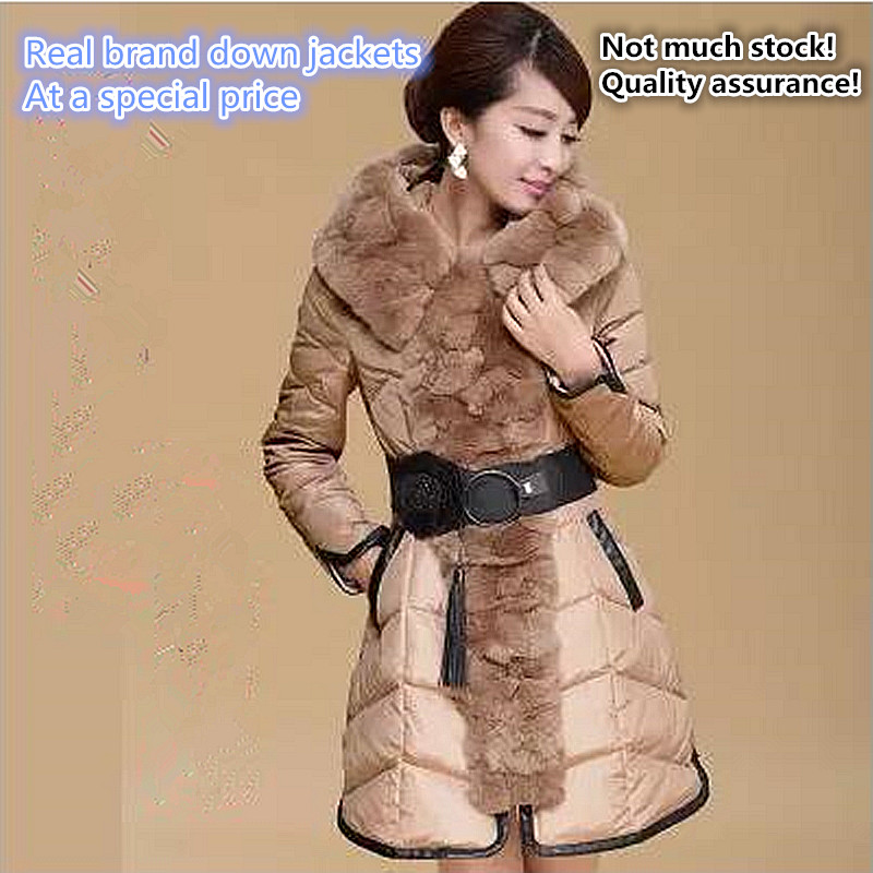 2017 fashion brand high quality imitation lazy rabbit extra thick womans down jacket with long Large collars coat On sale