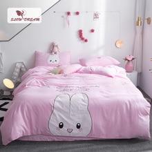 SlowDream Pink Rabbit Cartoon Bedding Set Girl Bedspread Double Queen King Duvet Cover Pillowcase Decor Adult Home Textiles