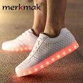 Merkmak Светодиодные Мужчины Обувь Мужская Дышащий Плоским Кроссовки USB перезаряжаемый Светодиодный Свет Обувь Для Мужчин Мягкая Обувь Плюс Большой Размер