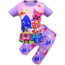 Купить с кэшбэком New Europe and American Shark baby Girls pajamas 2019 Summer Half-pants home children clothing set two-piece girl nightclothes