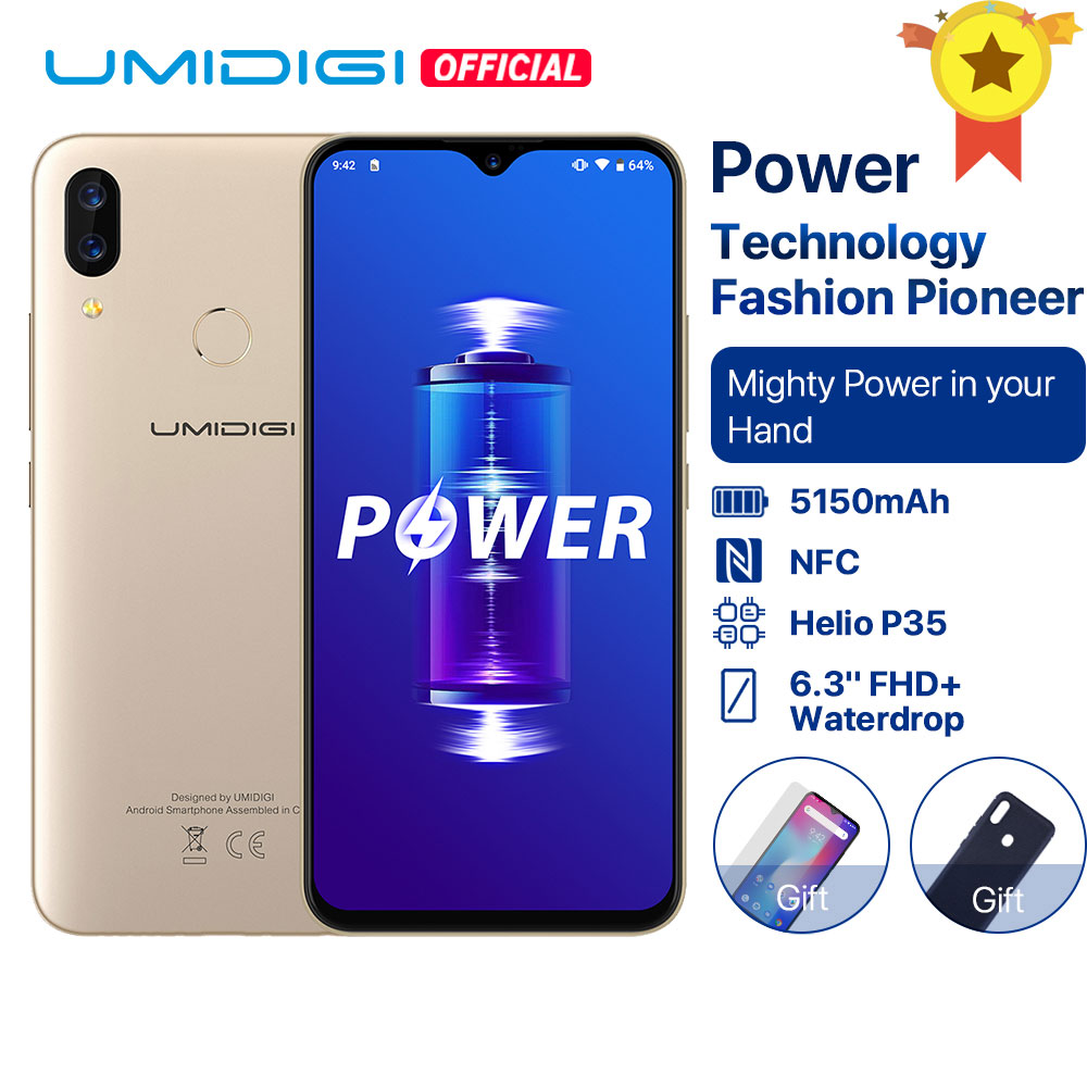 UMIDIGI Power Android 9.0 Helio P35 Octa Core 5150mAh 4GB RAM 64GB ROM 6.3' FHD+ Waterdrop Screen Smartphone 16MP Celular 4G LTE