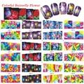 1 Conjuntos de 12 Projetos Da Arte Do Prego Decalques 3d Beauty Glitter Flor Etiqueta Da Borboleta Decorações Da Arte Do Prego de Transferência de Água Dicas BN169-180