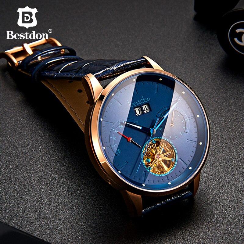 Bestdon Relógio Mecânico Totalmente Automático dos homens de Luxo Da Marca Esqueleto Volante Relógios Mostrador Grande Venda Quente relógio de Pulso À Prova D' Água
