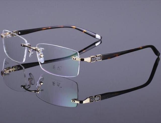 b967496de الرجال الأزياء إطار نظارات بدون إطار معدني الزينة الضوئية مع النظارات الطبية