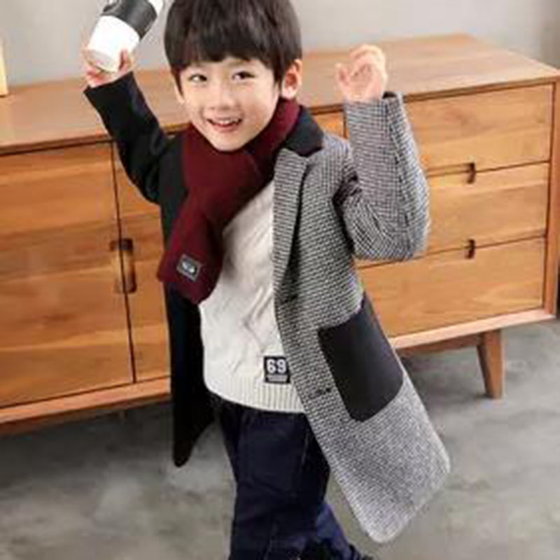 Boys wool outerwear fashion single-breasted children plus cotton padded woolen coat long section boys new 2018 winter цена