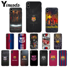 Yinuoda FC Barcelona Messi Black Soft TPU Phone Case Cover for Apple iPhone 8 7 6 6S Plus X XS MAX 5 5S SE XR Mobile Cases
