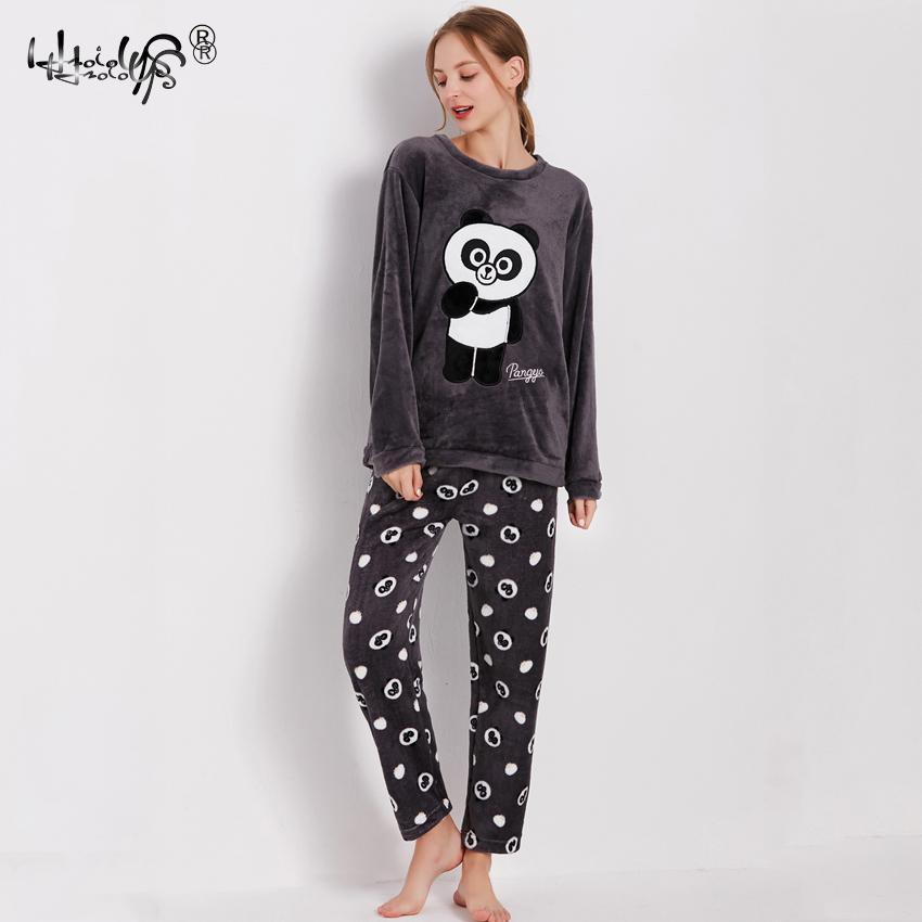 Image 4 - Women Winter Warm Pajamas For Unisex Couple Cartoon Pyjama Sets Animal Pyjama Suit Sleepwear Women/Men Home Clothing Pijamas-in Men's Pajama Sets from Underwear & Sleepwears on AliExpress