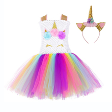 Little Girls Pony Party Unicorn Tutu Dress Clothes Sleeveless Knee Length Pattern Flower Dresses Age 10