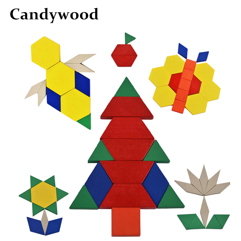 High Quality Colorful Geometric Jigsaw Puzzle Children Learning Practice square triangle Pentagon diamond trapezoid wooden Toys