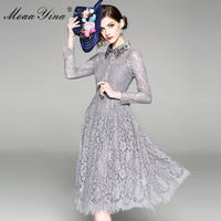 MoaaYina Grey Vintage Lace Dress 2018 Summer Long Sleeve Lace Hollow Out Turn Down Collar Crystal