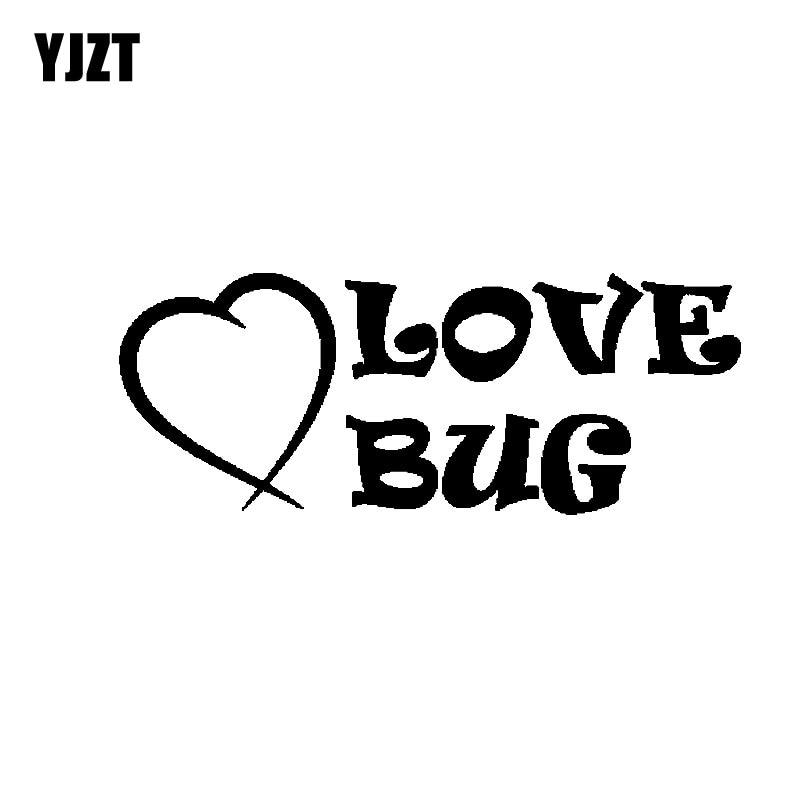 YJZT 12.7CM*4.8CM Love Bug Funny Beetle Novelty Vinyl Decal Car Sticker Black/Silver C19-0173