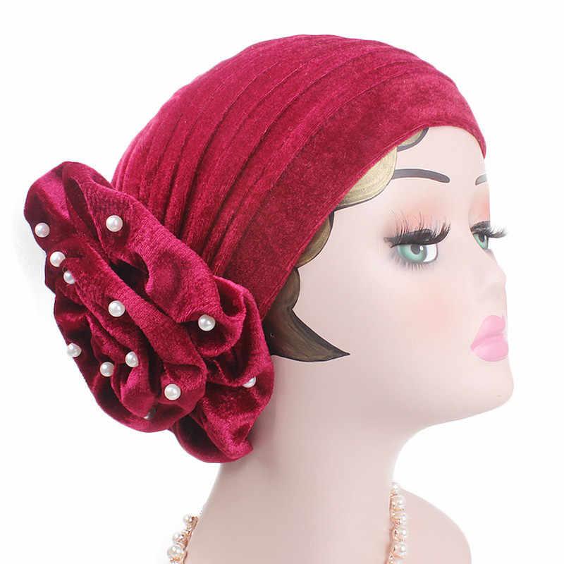 e05ae335ca3 ... Fashion Pearls Beaded Flower Velvet Turban Women Bonnet Hair Loss Cap  Muslim Turbante Party Hijab Headwear ...