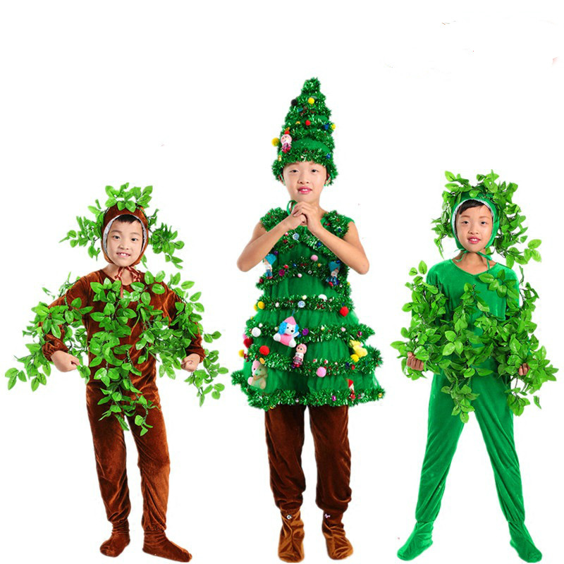 Children Christmas Tree Cosplay Costumes Green Trees Adult