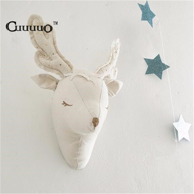 Cute 3d Sheep Deer Unicorn Wall Art Decorations Animals Head Toys Kids Room Wall Hangings Baby Gifts Stuffed Toys White Reindeer