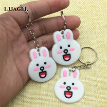 LINE Cony Bunny Cartoon Key Chain Strap Trinket Ring Kids Toy Anime Figure Animal Charms Holder ATC007