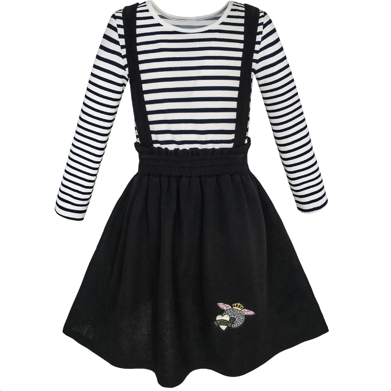 2 Pieces Set Girls Dress T Shirt Suspender School Uniform