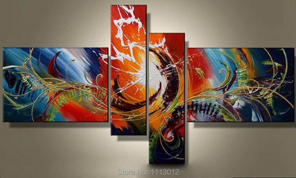 Hot Sale Modern Knife Line Peacock Oil Painting On Canvas 4 Panel Arts Set Home Abstract