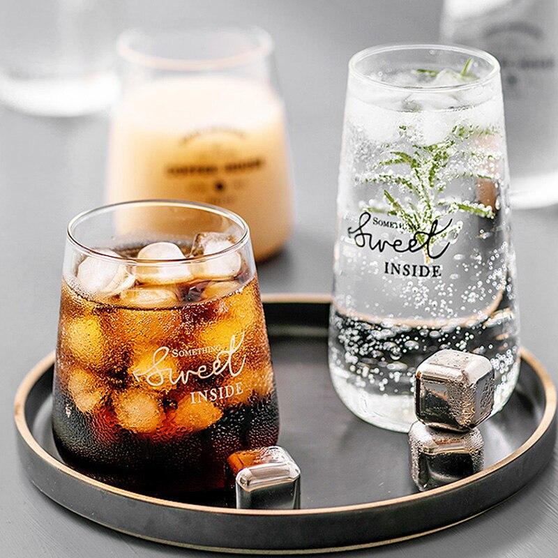 Glass Coffee Mug Beer Cup Brief Style Clear Glass Cup for Juice Milk Iced Coffee Tea Mug Glass Cups and Mugs Gift Drinkware (1)