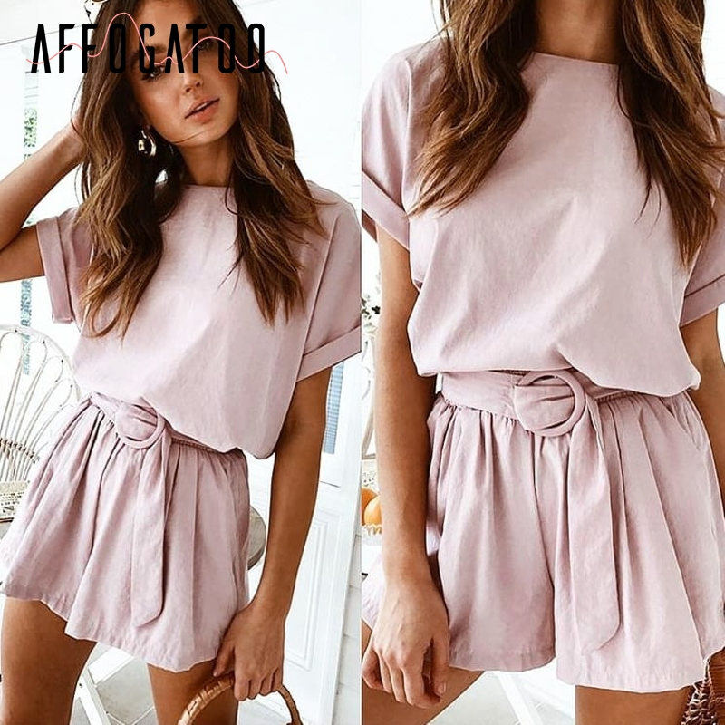 Affogatoo Casual two-piece romper women   jumpsuit   Solid streetwear playsuit summer   jumpsuit   High waist top shirt overalls 2019
