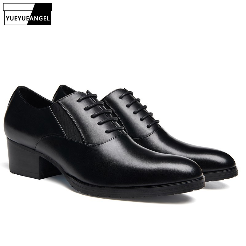 Business Black Formal Round Toe Genuine Leather Shoes Man British Style Wedding Office High Heel Shoes Spring Autumn Derby ShoesBusiness Black Formal Round Toe Genuine Leather Shoes Man British Style Wedding Office High Heel Shoes Spring Autumn Derby Shoes