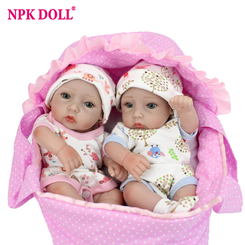 NPKDOLL 10 A Pair Mini Dolls Reborn Handmade 28CM Full Silicone Reborn Babies Twins Baby Doll
