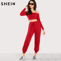 SHEIN Red Two Piece Set Casual Womens Clothing Off The Shoulder Long Sleeve Lettuce Trim Crop