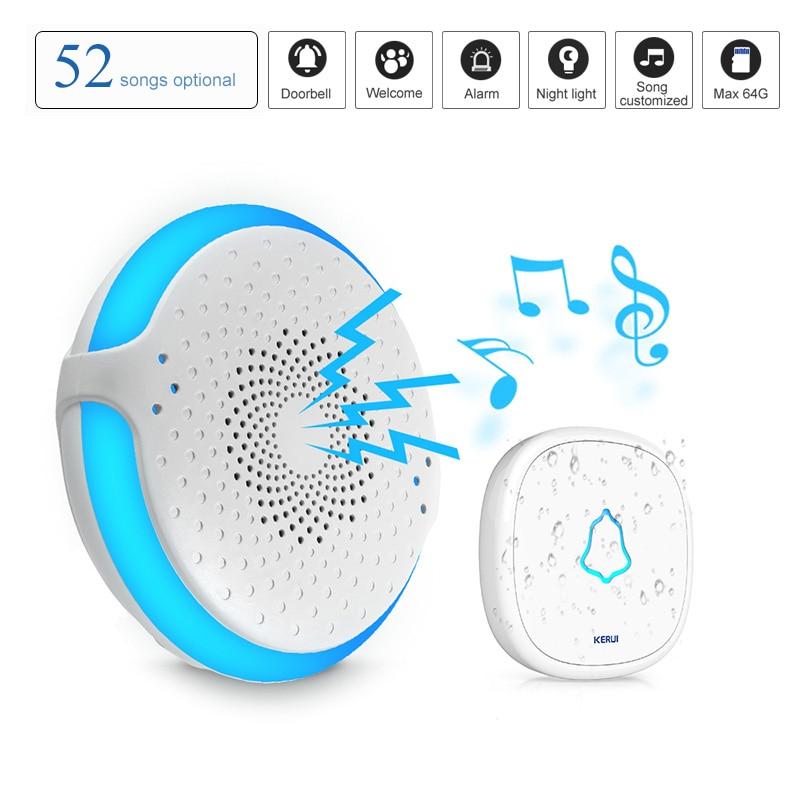 KERUI 52 chansons bienvenue sonnette sans fil étanche porte cloche bouton avec Support de lumière LED carte SD système d'alarme de sécurité à domicile
