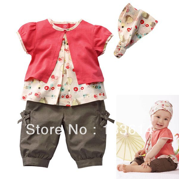 3Pcs 0-3 Years Kids Baby Girls Outfits Fruits Pattern Top+Pants+Hat Clothes Set Outfits