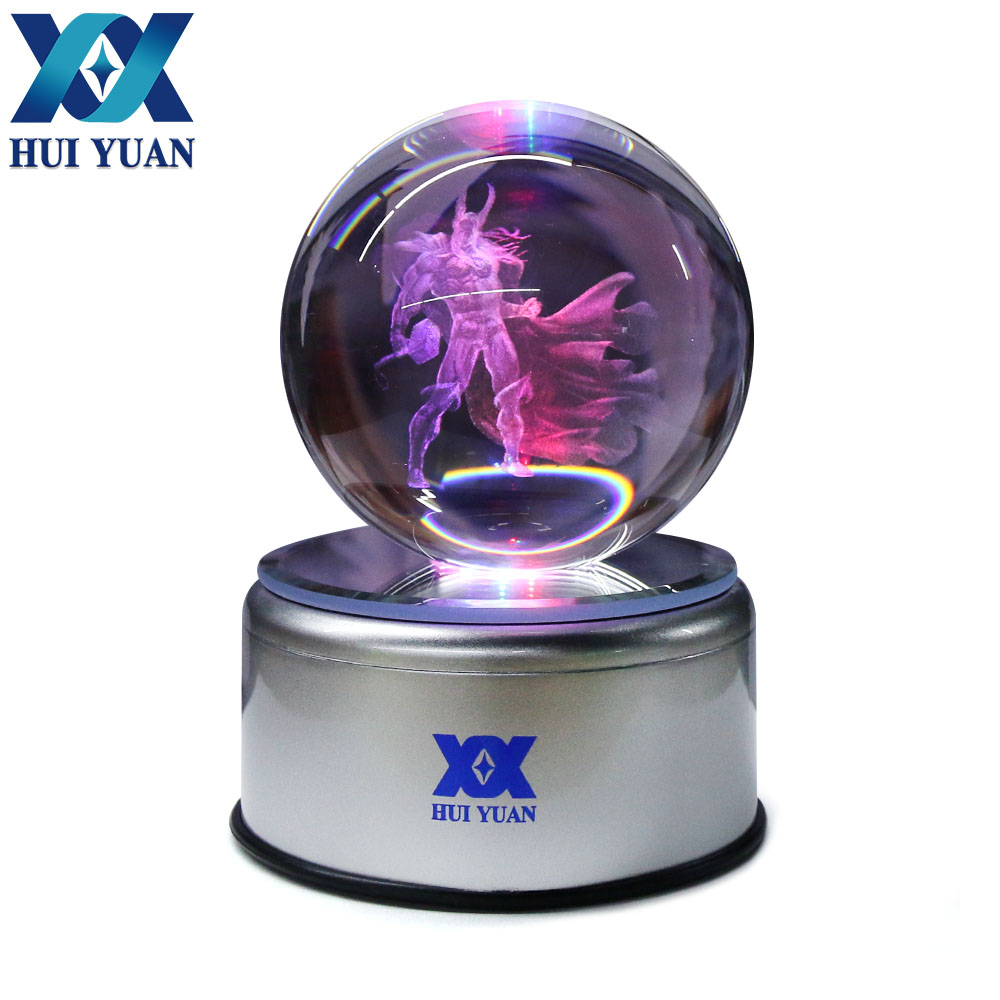 Thor 8CM Crystal ball Desktop Decoration Light Glass Ball LED Colorful Base Lamp for Decorative Gift by HUI YUAN Brand superman 3d crystal ball lamp desktop decoration glass ball night light led colorful rotate base funny gift hui yuan brand