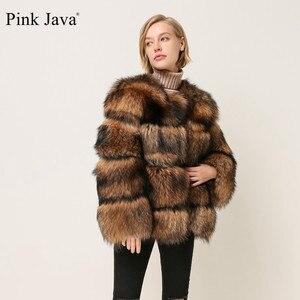 Image 4 - Pembe JAVA QC1874 yeni geliş ücretsiz kargo kadınlar kış gerçek rakun kürk ceket kabarık sıcak satış toptan kürk elbise
