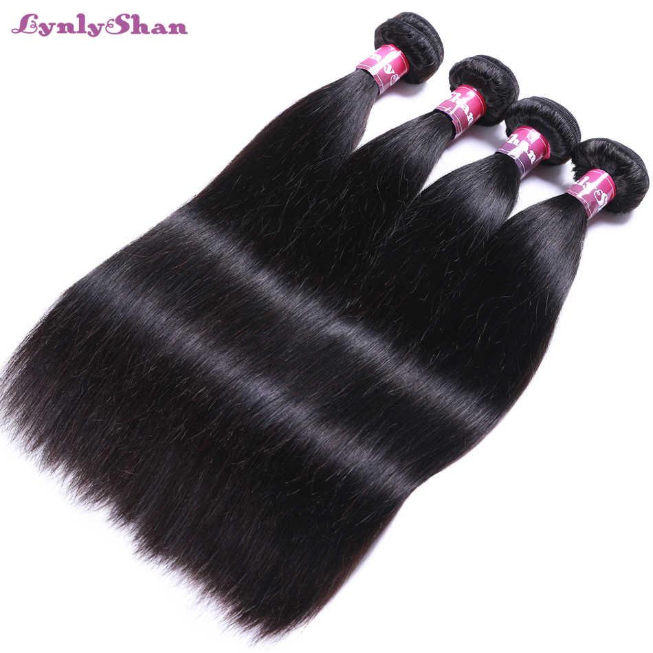 Lynlyshan saç brezilyalı düz saç demetleri örgü yüksek Ratio100 % 100 Remy İnsan saç demetleri doğa renk 8-30 inç ücretsiz kargo