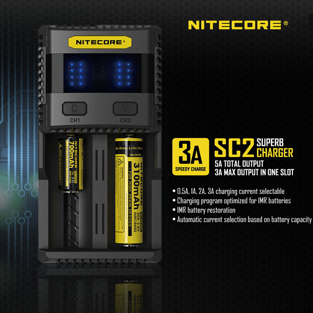 NITECORE SC2 Intelligent Faster Charging Superb Charger with 4 Slots 6A Total Output Compatible IMR 18650 14450 16340 AA Battery