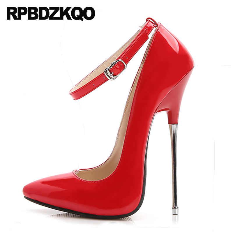 110fd0c0 Talla Grande Aterciopelado Dama Zapatos Tacones De Tacón Alto 16 Cm Correa  Tobillo Oro Fetiche Rojo