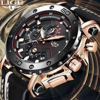 Relogio Masculino 2019 nouveau LIGE Sport chronographe hommes montres haut marque décontracté en cuir étanche Date Quartz montre homme horloge