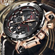 Relogio Masculino 2020 새로운 LIGE 스포츠 크로노 그래프 남성용 시계 브랜드 캐주얼 가죽 방수 날짜 쿼츠 시계 남자 시계