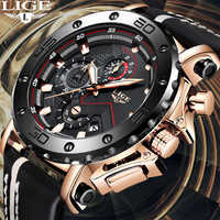 Reloj Masculino 2019 nuevo cronógrafo deportivo LIGE para hombre, marca superior, reloj de cuarzo para hombre, reloj para hombre, resistente al agua, de cuero, para hombre