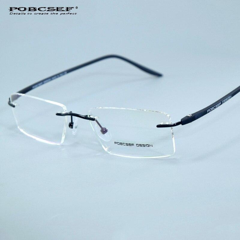 Rimless Eyeglasses 2017 : 2017 POBCSEF brand titanium eyeglasses rimless retro ...