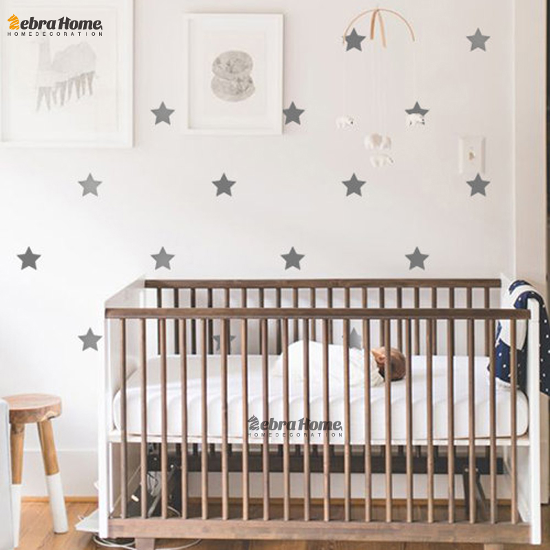Custom color stars wall sticker diy baby nursery bedroom for Baby mural wallpaper