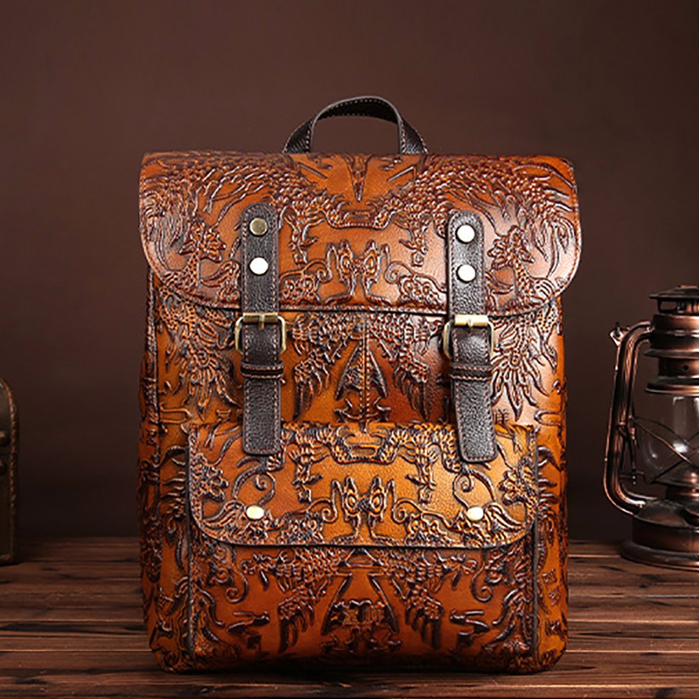 2017 New Embossed Leather Backpack Genuine Leather Women Rucksack Vintage Trend Shool Satchel Laptop Bag Daypack Travel Knapsack image
