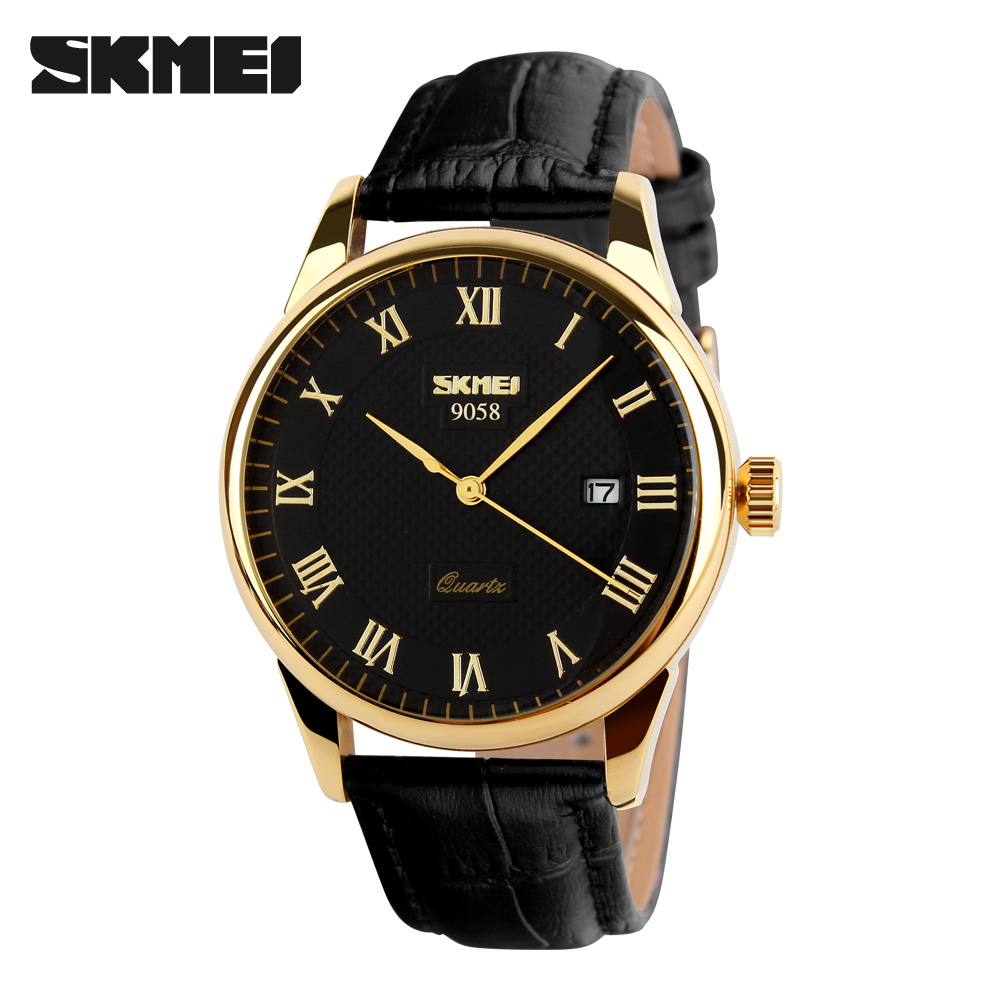 New Luxury SKMEI Brand Quartz Watch Men Women Lover's Leather Strap Waterproof Wristwatch Dress Relogio Gold Silver 9058 new famous brand skmei fashion leather strap quartz men casual watch calendar date work for men dress wristwatch 30m waterproof