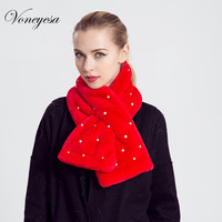 2017 Angola Solid Faux Fur Neck Collar High Quality Winter Warm Fur Scarf With Pear Women