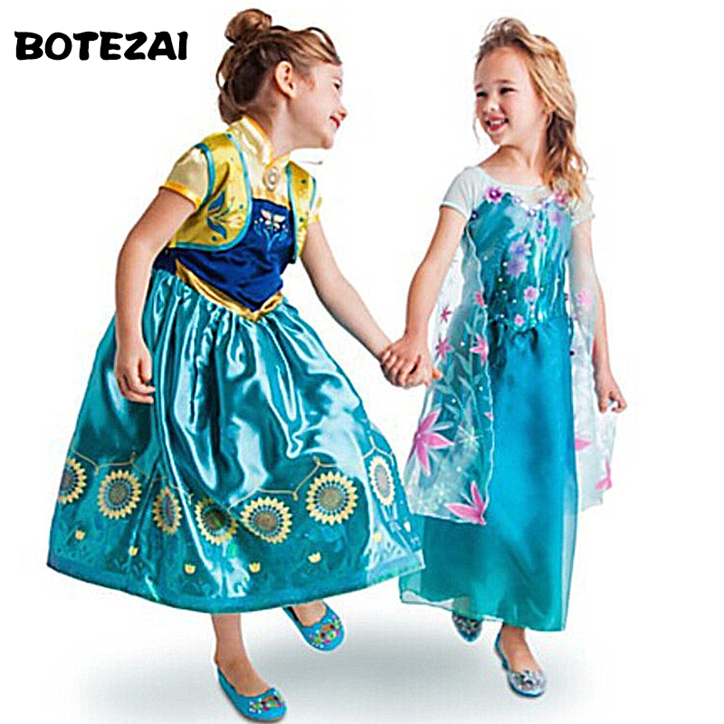 Summer Toddler Girls Clothing Kids Tutu Princess Anna Elsa Dresses Snow Queen Cosplay Costume Teen Girls Clothes Size 3-11Yrs
